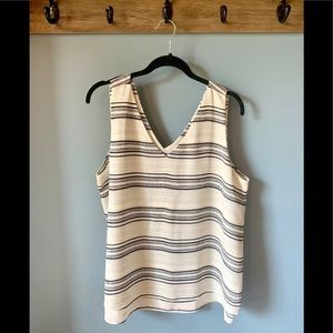 Ann Taylor white and navy blue striped blouse L